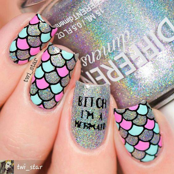 da8ce002d 20 Increíbles diseños de sirena para tus uñas